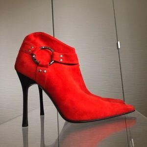 Cesar's Paciotti Suede Booties, Orange, Size 37